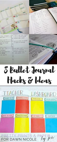 Bullet journaling is a fun trend right now! Here are 8 bullet journal hacks and ideas and hacks for how you can tweak your future log, layouts, and more. Bullet Journal Teacher, How To Bullet Journal, Bullet Journal Printables, Journal Template, Bullet Journal Layout, My Journal, Bullet Journal Inspiration, Bullet Journals, Journal Ideas
