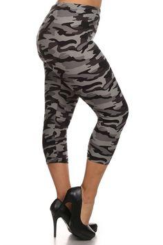 Plus size black camo capri leggings  www.legsmart.ca