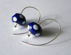 Let's Polka  Polka Dot Earrings  Navy Blue  by SallyThakeJewellery