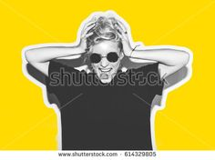 Collage in magazine style with colorful emotional fashion short hair blonde. Crazy girl in black t-shirt and rock sunglasses scream holding her head. Rocky woman white toned yellow background - Shutterstock Premier