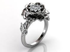 14k white gold diamond unusual unique cluster floral by Jewelice, $1540.00