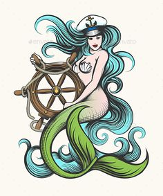 Buy Mermaid with Steering Wheel by on GraphicRiver. Beauty blue haired siren mermaid in captain hat holds steering wheel in her hands. Colorful Vector illustration in ta. Siren Mermaid, Mermaid Art, Mermaid Kisses, Mermaid Drawings, Mermaid Tattoos, American Classic Tattoo, Hip Tattoo Quotes, Tattoo Artists Near Me, African Tribal Tattoos