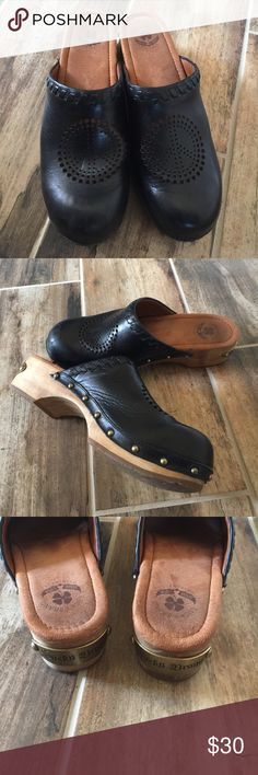 Lucky Brand leather Peace Clogs size 10 Cute Lucky Brand Clogs with wood heels. Shoes are in good used condition. Bundle up and save offers always welcome. Lucky Brand Shoes Mules & Clogs
