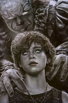 Pennywise has Beverly Marsh caught in the Deadlights. Clown Horror, Creepy Clown, Creepy Horror, Horror Movie Characters, Horror Movies, Horror Fiction, Bill Skarsgard Pennywise, It The Clown Movie, Pennywise The Dancing Clown