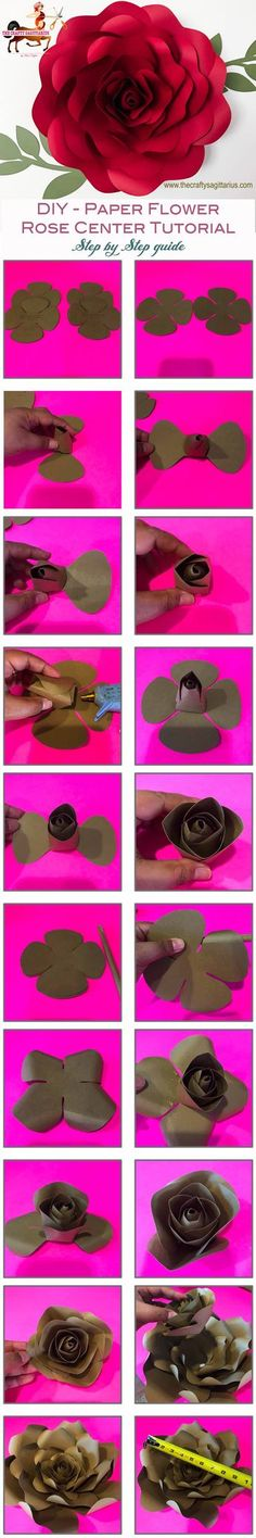 Make your own Giant Paper Flower Rose using this DIY Step By Step Tutorial on how to Make a Rose Center. #paper #papercraft #origami #flowers #flower #diy #handmade #paperflowers #paperflowerwall #paperflowerbackdrop #paperflowertemplates #template #freebie #pdf #svg #cricut