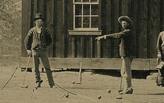 Billy The Kid, Left. 1878. Flying H Ranch. Charlie Bowdrie's Wedding. Charlie pointing?? Billy was 18 years old here.  And yes. This is the real deal. That is Billy. Finally! A second photo has surfaced showing a small glimpse into the lifes of the regulators playing, Croquet.