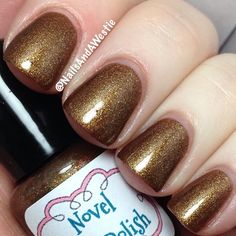 Novel Nail Polish 'Hands of Gold Are Always Cold'. 2 coats, with topcoat. Thermal polish that goes from bronze when cold, to gold when warm. #nails #nailpolish #indiepolish #novelnailpolish #thermalpolish