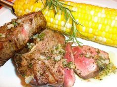 The Briny Lemon: Grilled Lamb Chops with Grilled-Garlic-Rosemary Drizzle and Corn on the Cob