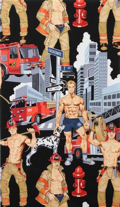 black Pin up fire fighters fabric by Alexander Henry Ready For Action