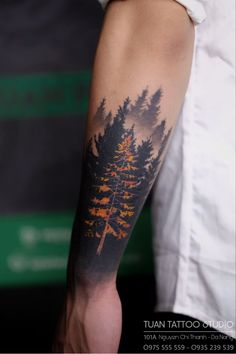 Forarm Tattoos, Forearm Sleeve Tattoos, Tattoo Sleeve Designs, Tattoo Designs Men, Hand Tattoos, Mountain Sleeve Tattoo, Forest Tattoo Sleeve, Nature Tattoo Sleeve, Rose Tattoos For Men