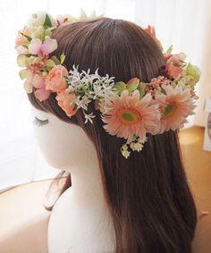 淡いピンク系ガーベラの花冠 ウェディングブーケ・花冠・通販専門店「ぽると」