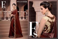 #Graceful #Brown #Saree #With #Dupion #And #Net #Blouse #Piece $93.09 www.fashionumang.com