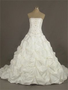 Ball Gown Strapless Beaded Embroidered With Ruffles Taffeta Wedding Dress WD1298 www.tidedresses.co.uk $270.0000