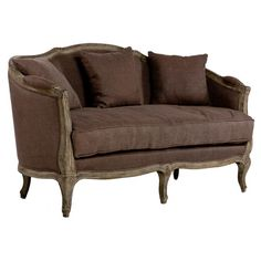 Featuring elegant cabriole legs and a graceful silhouette, this lovely settee offers French-inspired style to your parlor or living room.