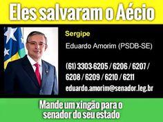 Se preferir mandar o xingão no face, segue aí a página de cada um: ALAGOAS Benedito de Lira https://www.facebook.com/BeneditodeLira/ Fernando Collor (PTC-AL) https://www.facebook.com/colloralagoas/ Renan Calheiros (PMDB-AL) https://www.facebook.com/renancalheirossenador/?ref=br_rs AMAPÁ Davi Alcolumbre (DEM-AP) https://www.facebook.com/davi.alcolumbre AMAZONAS Eduardo Braga (PMDB-AM) https://www.facebook.com/EduardoBraga15/ Omar Aziz (PSD-AM) https://www.facebook.com/OmarAzizPSD/ CEARÁ Tasso…