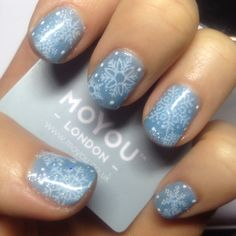 CND Shellac Azure Wish, Iced Vapor & Moyou London stamp with Creme Puff