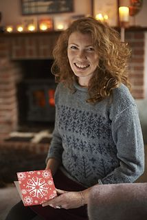 This stylish and fun seasonal sweater has an attractive Fair Isle design incorporating Christmas trees and stars around the body, with an echo of the smallest trees around the cuffs. Worked in the round up to the armholes, it is easy to knit and might even be a good first project for trying out Fair Isle working.