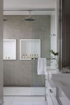 we can also find the existence of concrete bathroom, which includes concrete floor as well as concrete sink. Check out our collection of 28 Best Concrete Bathroom Design Ideas. Laundry In Bathroom, Bathroom Renos, Bathroom Interior, Master Bathroom, Bathroom Grey, Bathroom Modern, Small Bathroom, Minimalist Bathroom, Shower Bathroom