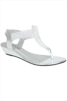 Silver Low Wedge Elasticated Toe Post sandal In EEE Fit