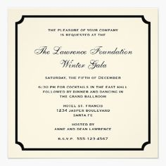 cream black square frame corporate holiday formal personalized invitation cards
