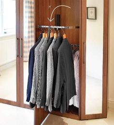 Want to stack a short-hanging rod over one that's set up high? It's doable with a specialty hinged pull-down fitting (find them at rev-a-she. Closet Rod, Master Closet, Closet Bedroom, Closet Storage, Closet Doors, Closet Organization, Organizing, Clothing Organization, Clothing Storage