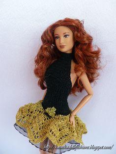 KasatkaDollsFashions: Коктейльное платье для кукол Барби Золото в ночи, Барби из 12 танцующих принцесс + описание