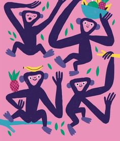 What do monkeys do all day? Answer coming up in Winter edition of DOT, out at the end of the month. Illustration by Pablo Luebert.