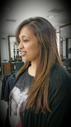 Long hair with balayadge colour.