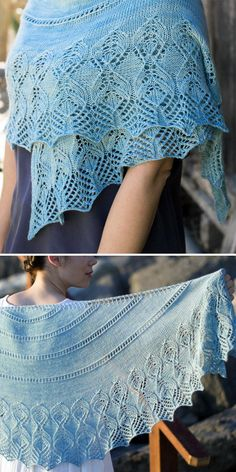 Knitting Pattern for Idina Shawl - Crescent shaped shawl knit from the top down with eyelet stripes with a flame or leaf shaped lace border. Designed by IrmianDesign. Lace Knitting Patterns, Shawl Patterns, Free Knitting, Finger Knitting, Knitting Tutorials, Knitted Shawls, Crochet Shawl, Knit Crochet, Lace Shawls