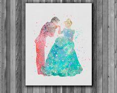 Cendrillon et le Prince Charming DISNEY - Art Print, téléchargement immédiat, papier aquarelle, affiche