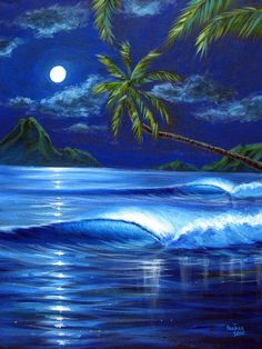 Moonlit Serenade by Patrick Parker ~ ocean seascape tropical art ~ acrylic palm Painting & Drawing, Watercolor Paintings, Tropical Art, Tropical Paradise, Beautiful Moon, Surf Art, Ocean Art, Beach Art, Pictures To Paint