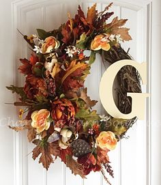 Monogram Wreath, Fall Wreath, Fall Floral Wreath, Grapevine Wreath, Fall…