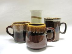 Mix Stoneware Coffee Cups Tea Mugs Set of Four by sweetie2sweetie, $8.99