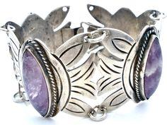 Early Mexican Sterling Silver Amethyst Bracelet Gemstone Vintage Jewelry