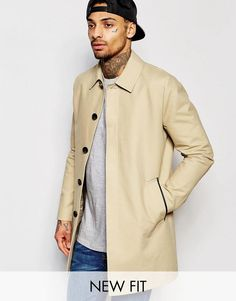 ASOS | ASOS Single Breasted Trench Coat With Shower Resistance In Stone at ASOS