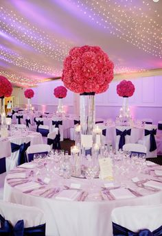 Coral pink amd Navy wedding centerpieces. Mod Wedding
