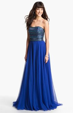 Sherri Hill Embellished Strapless Chiffon Gown (Online Exclusive) available at Nordstrom
