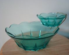 Mid-Century Anchor Hocking chip & dip set Vintage aquamarine ORIGINAL BOX - I actually have this set and was wondering what year it was made....