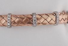 Diamond Mesh Bracelet in 14k Rose/14k White Gold
