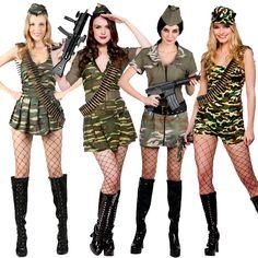 Adult Ladies Sexy Army Military Soldier Uniform Fancy Dress Costumes War Womens | eBay