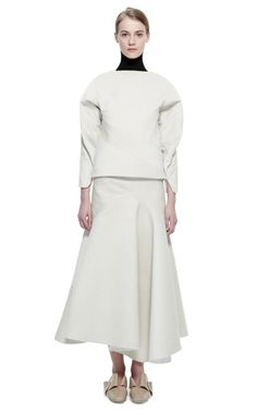 Cream Spiral Skirt by J.W. Anderson for Preorder on Moda Operandi