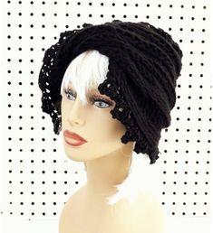 Black Crochet Hat Womens Hat Trendy Womens Crochet Hat Crochet Beanie Hat Black Hat LAUREN Beanie Hat for Women Crochet Hat by strawberrycouture by #strawberrycouture on #Etsy