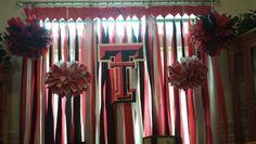 Window decoration for my Texas Tech themed high school graduation party.