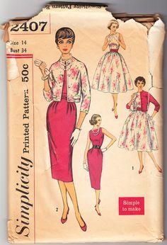 Cosecha 1958 simplicidad 2407 costura patrón por SewUniqueClassique