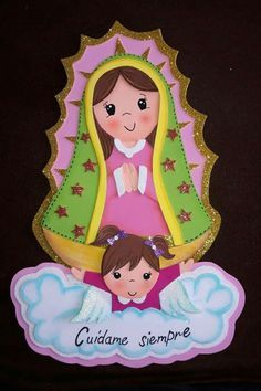 #gomaevamanualidades Fun Crafts, Diy And Crafts, Crafts For Kids, Paper Crafts, Baptism Decorations, Catholic Crafts, Mama Mary, Religious Art, Stone Art