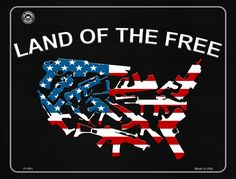 Land Of The Free Metal Novelty Parking Sign Tin Signs, Wall Signs, Tin Walls, Land Of The Free, Aluminum Metal, Street Signs, Novelty License Plates, Parking Signs, American Flag