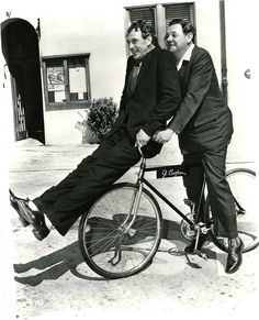 Gary Cooper and Babe Ruth ride a bike. Gary Cooper played Lou Gerig..Pride of the Yankees!
