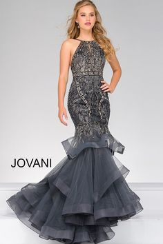 Jovani Prom 31554 Elegant sleeveless mermaid dress features a beaded bodice and tiered tulle skirt Prom Dresses Jovani, Prom Dresses 2017, Designer Prom Dresses, Dressy Dresses, Mermaid Prom Dresses, Spring Dresses, Nice Dresses, Mermaid Gown, Pageant Dresses
