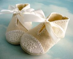 Baby Shoes Sewing Pattern with Appliques and Ribbon Ties - PDF ePattern. $3.99, via Etsy. * I like the pattern and color, thus why I am pinning despite the fact I don't have a baby*