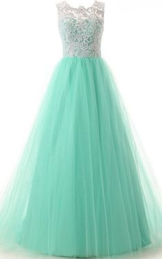 Long Prom Dresses, Elegant A-Line Prom Dress,Crew Neck Floor Length Mint Tulle Prom/Homecoming Dress with Lace